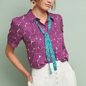 Anthropologie Maeve Neck Tie Blouse
